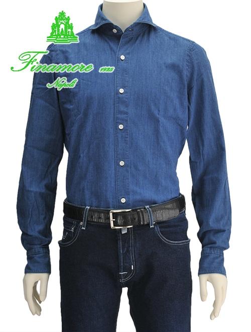 フィナモレ シャツ ブルー シャンブレーシャツ