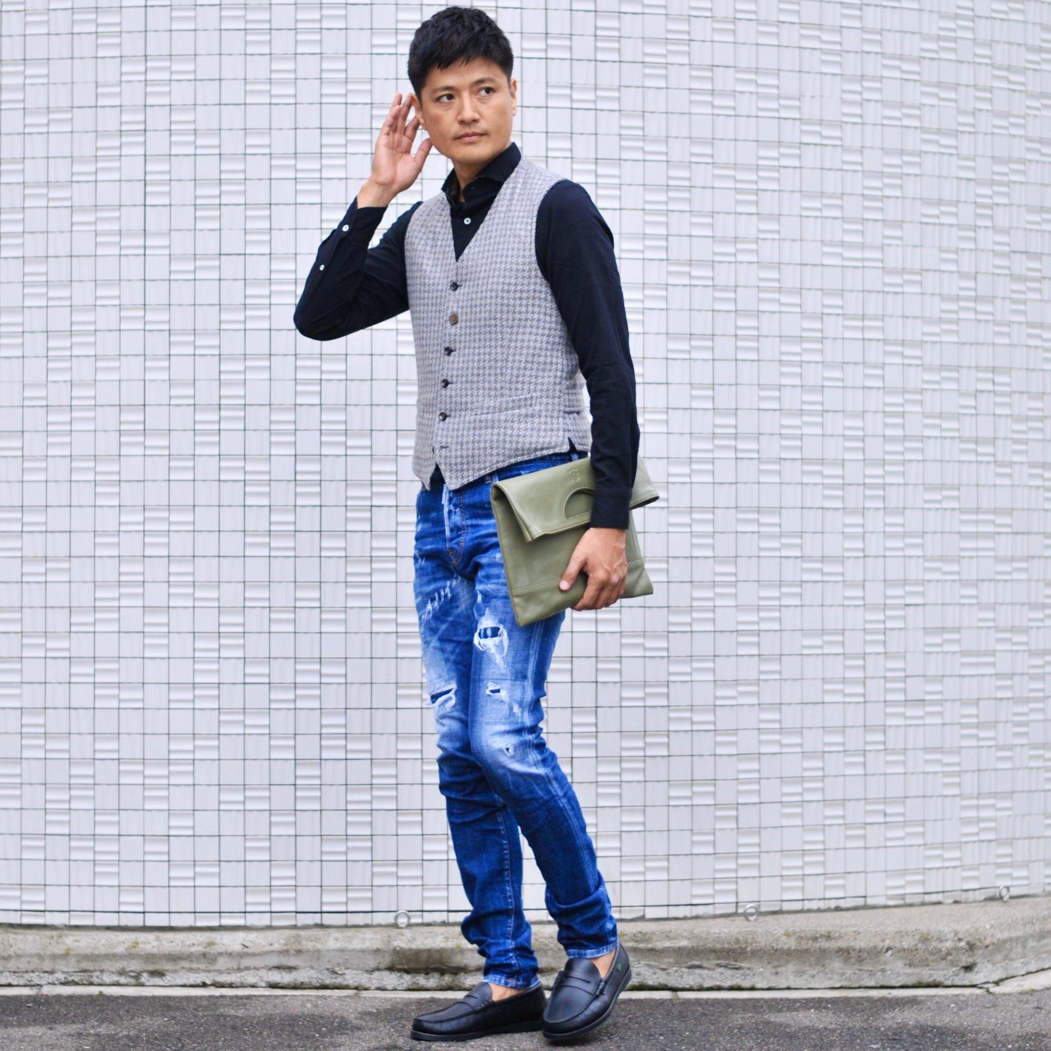 中間季節にこそ着るジャンネットシャツ+ラルディーニのジレのキレイめカジュアルスタイル