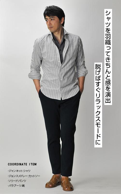 ジャンネットのシャツ。イタリア製の職人のぬくもりを感じる美しい一枚。第二ボタンについている、太陽マークの刺繍をチェックしてくださいね。